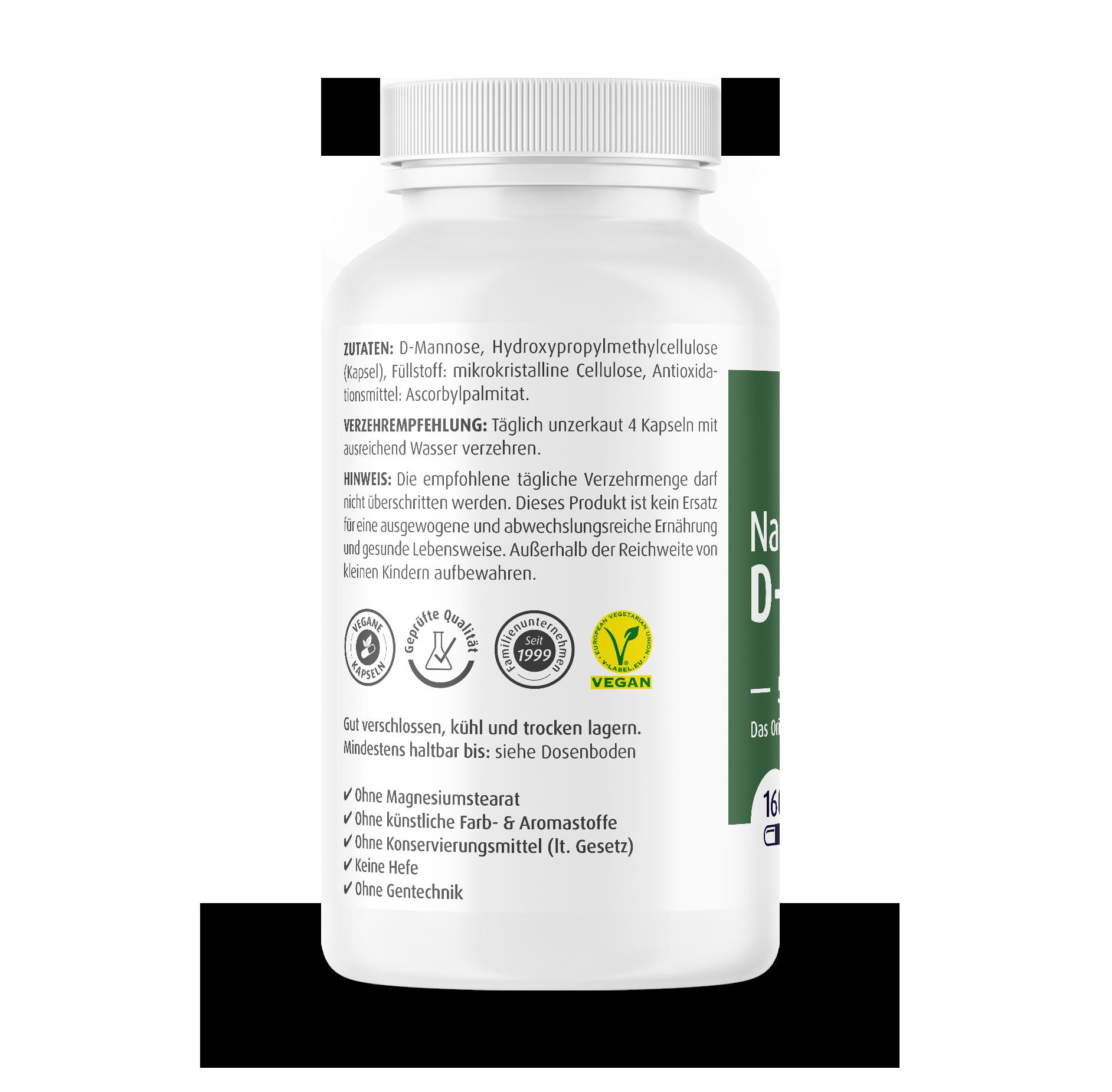 Natural D-Mannose Capsules 500 mg