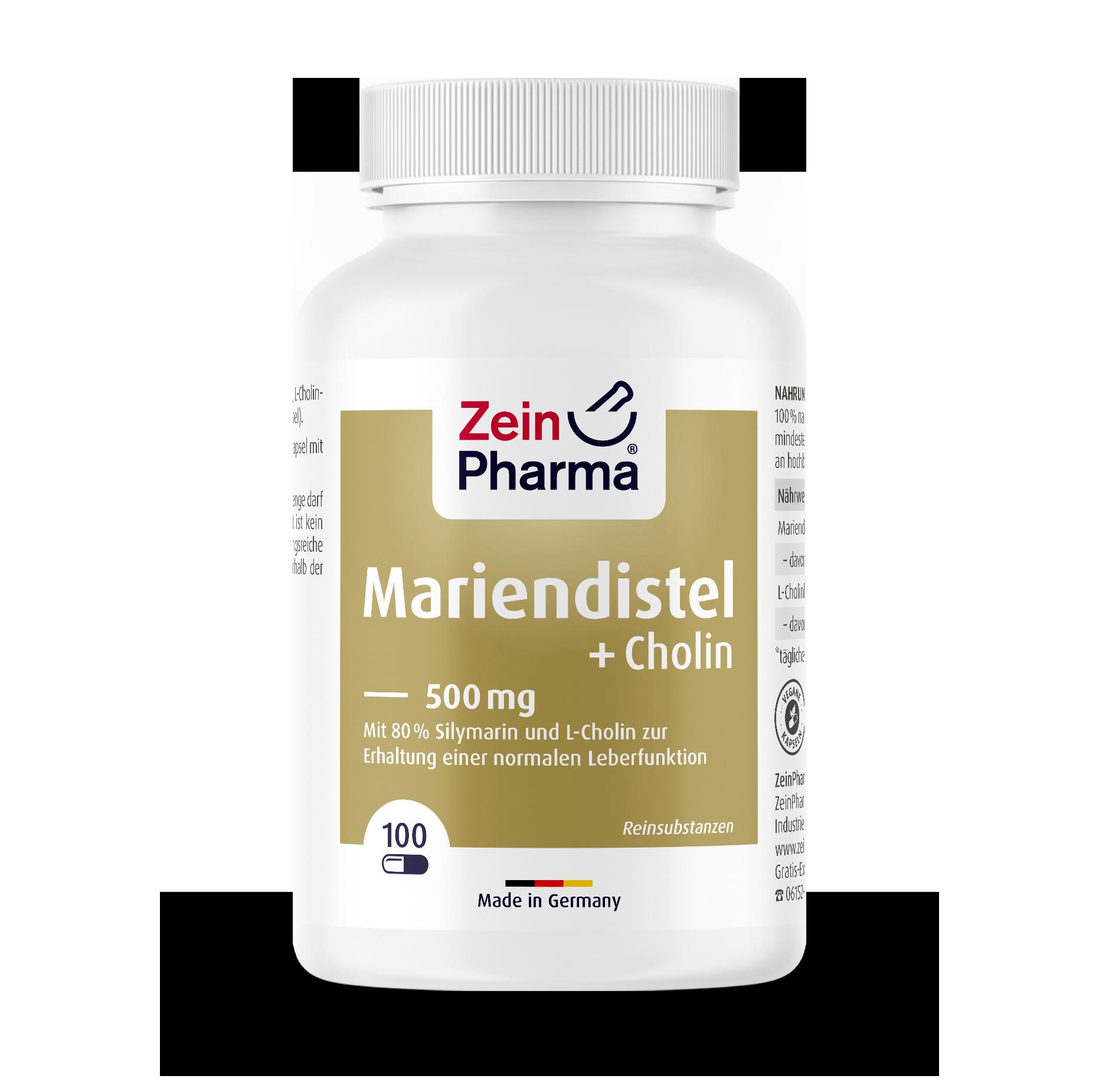 Milk Thistle + Choline 500 mg Capsules